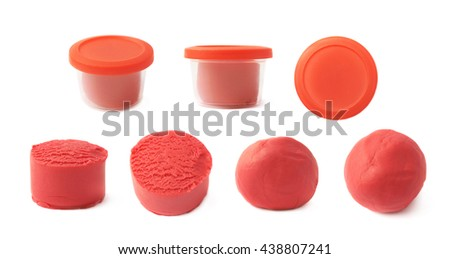 Piece of a red modelling clay isolated over the white background, set of seven different foreshortenings - stock photo