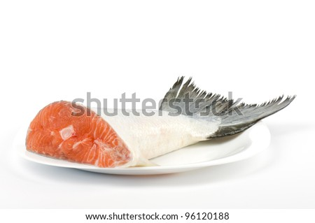 Piece of a salmon on a white background