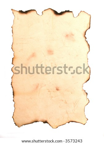 Piece of aged yellow paper isolated on white