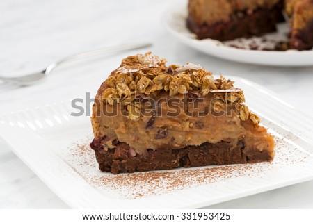 piece of apple and caramel cake, horizontal - stock photo