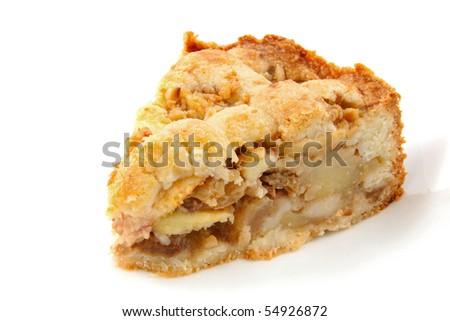 Piece of apple pie isolated on white background