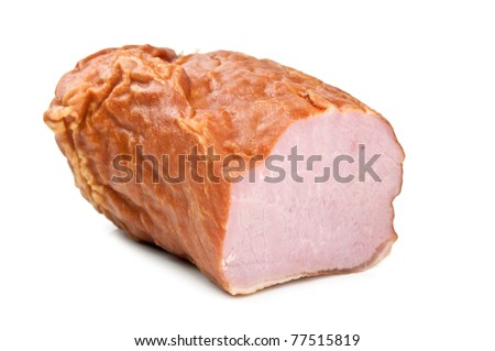 piece of bacon isolated on a white background - stock photo
