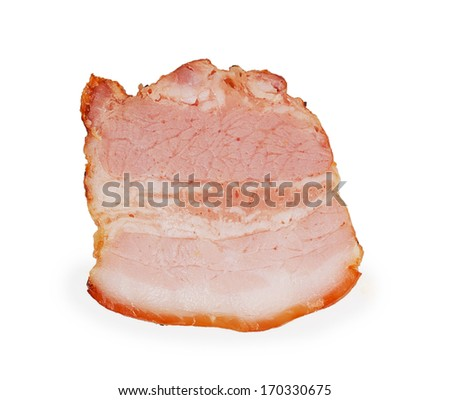 piece of bacon isolated on white background - stock photo