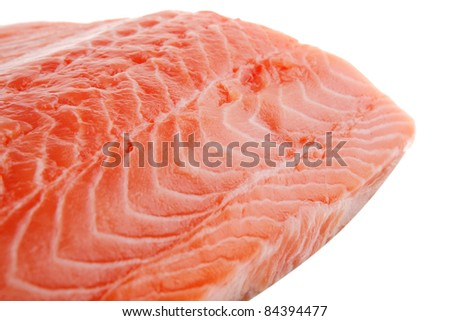 piece of big salmon fillet over white