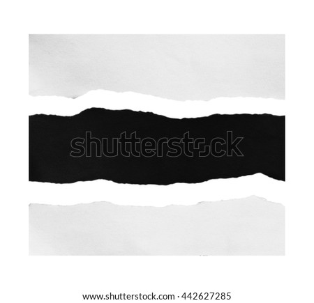 Piece of black and white torn paper on white background with clipping path. - stock photo