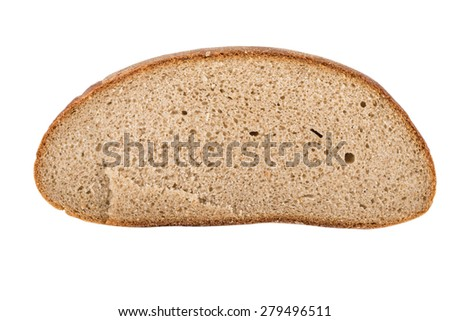 Piece of black bread isolated on a white background.