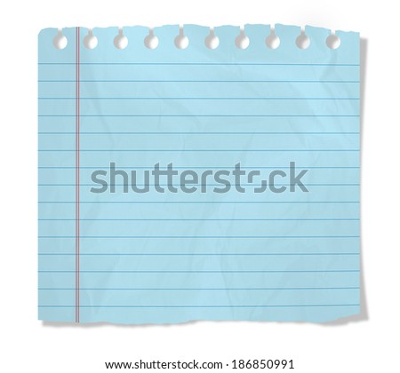 Piece of blue paper  isolated on white - stock photo