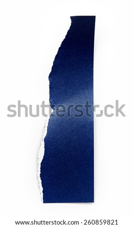 Piece of blue paper isolated on white background