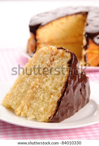 Piece of Boston cream pie in front with the whole pie in the background - stock photo