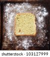piece of bread on a baking sheet - stock photo