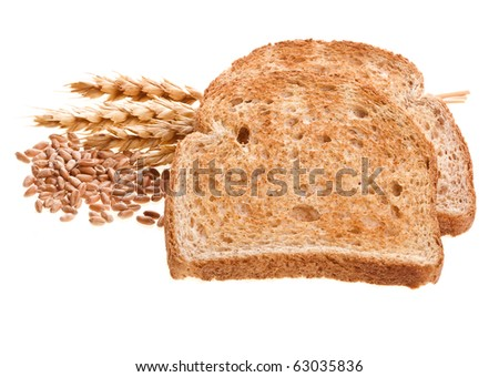 Piece of bread toast isolated on white background - stock photo
