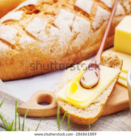 Piece of Bread with Cheese and Honey. Picnic Fresh Food in Summer day. Square image - stock photo