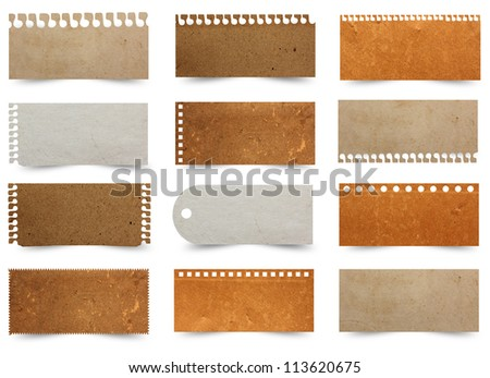 Piece of brown paper texture, Isolated on white background ( Save paths for design work ) - stock photo