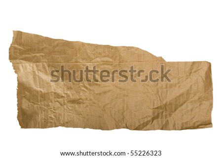 Piece of brown paper, torn on white background - stock photo