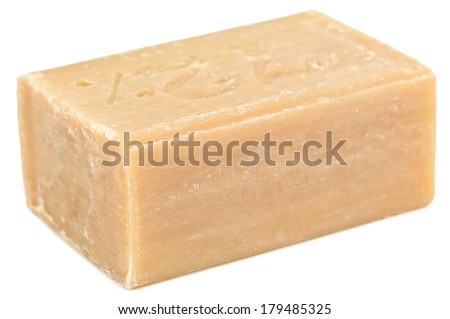piece of brown soap on white - stock photo