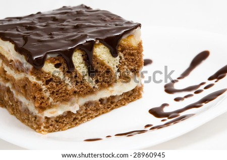 piece of cake with grated chocolate