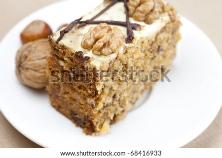 Piece of cake with nuts lying on the plate