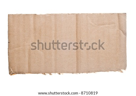 Piece of cardboard isolated on a white