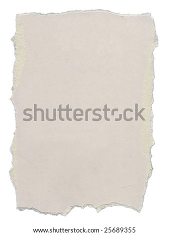 Piece of cardboard with torn edges. Isolated on white. Clipping path included. - stock photo
