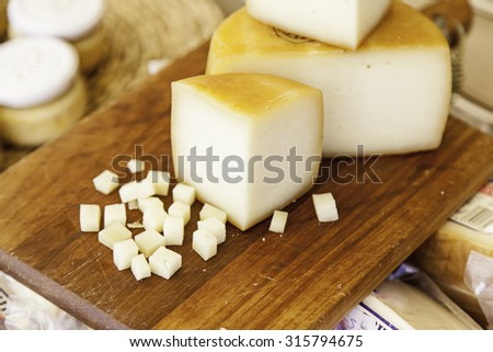 Piece of cheese, detail of a portion of cheese, dairy - stock photo