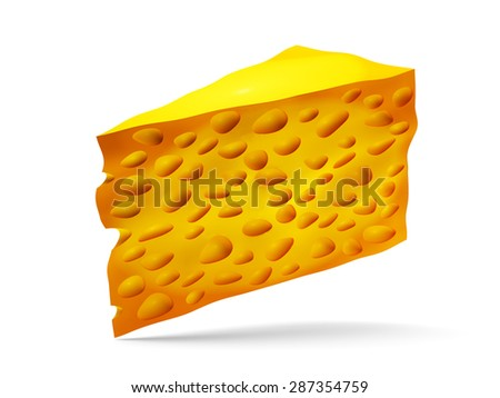 Piece of cheese illustration isolated on white background - stock photo
