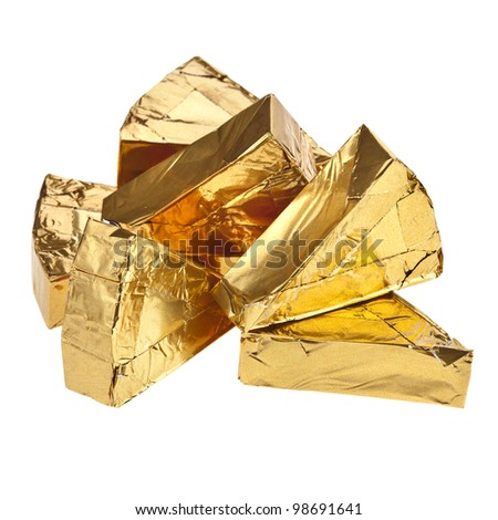 piece of cheese in golden triangle foil isolated on white - stock photo