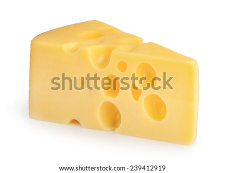 piece of cheese isolated - stock photo