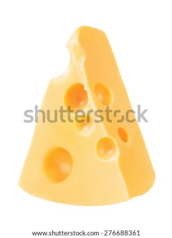 Piece of Cheese, isolated on a white background - stock photo