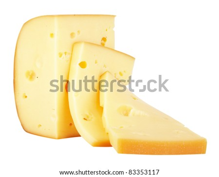 Piece of Cheese isolated on a white background. With Clipping Path. - stock photo