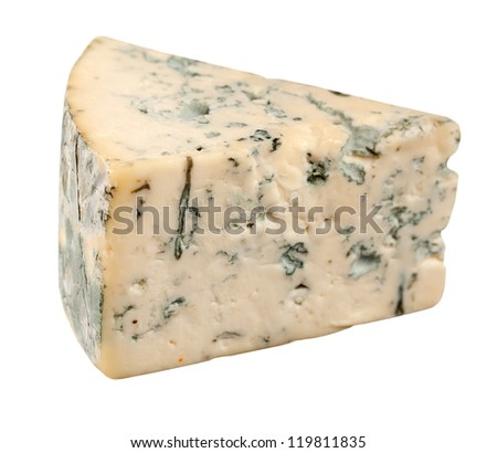 Piece of cheese isolated on white background - stock photo