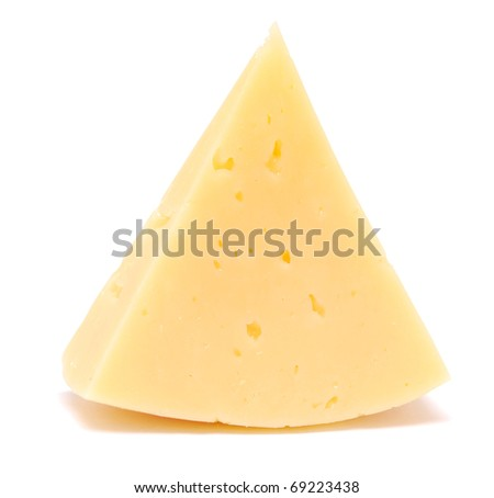 piece of cheese isolated on white (series) - stock photo