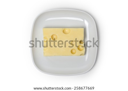 Piece of Cheese on a plate isolated on white background - stock photo