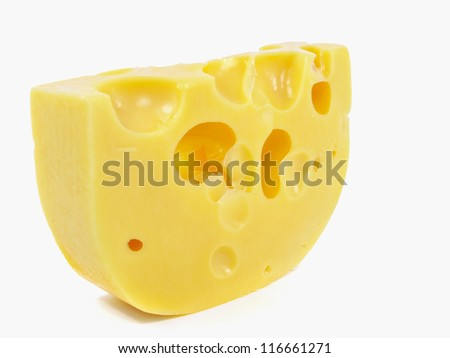 Piece of cheese on a white background