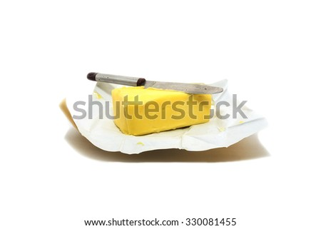 piece of cheese on isolated - stock photo