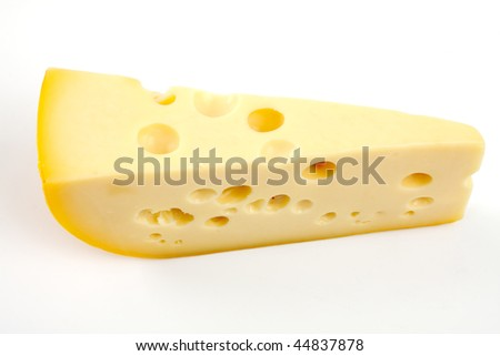 Piece of cheese, studio isolated - stock photo
