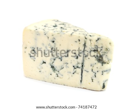 Piece of cheese with mold isolated on white background