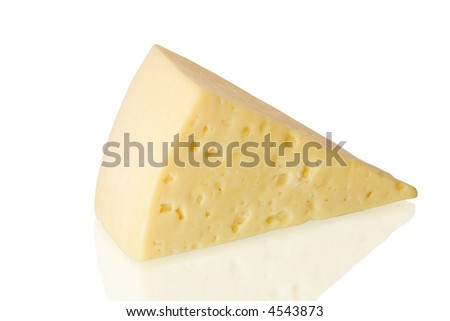 Piece of cheese with reflection isolated on white