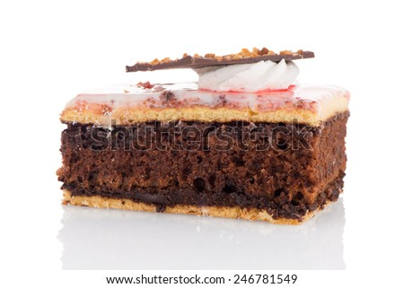Piece of chocolate cake on white background - stock photo