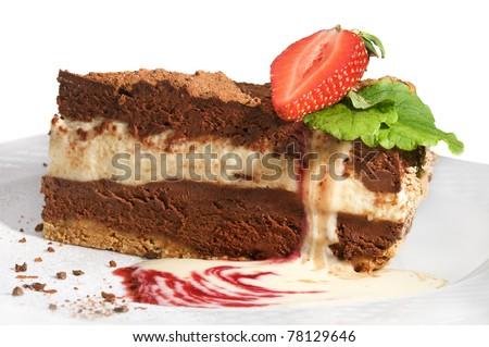 Piece of chocolate cake on white background - stock photo