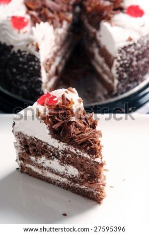 piece of Chocolate cake tart - stock photo