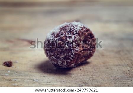 piece of chocolate coconut cookie,shallow DOF - stock photo