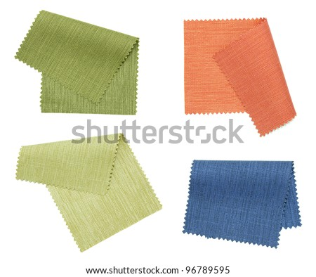 piece of colored fabric isolated on white background - stock photo
