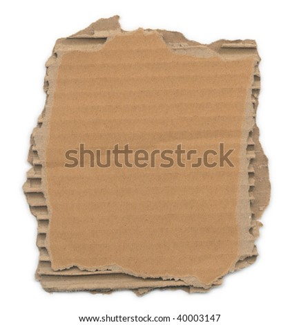 Piece of corrugated cardboard with torn edges. Isolated on white. Clipping path included.