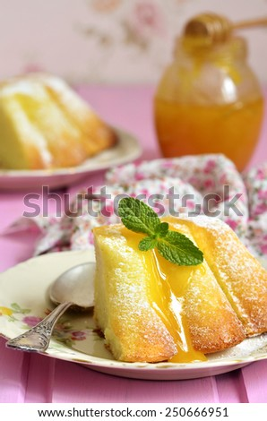 Piece of curd casserole (pudding) with honey dressing on a pink background. - stock photo