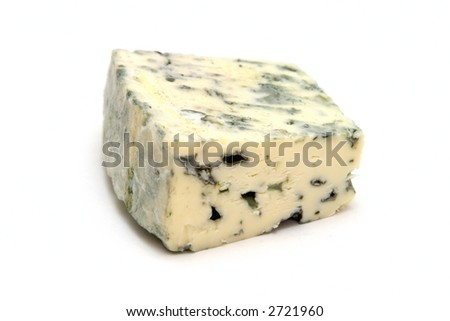 piece of danish blue cheese on white background