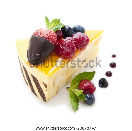 piece of delicious cake isolated on white - stock photo