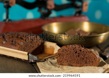 Piece of delicious homemade chocolate cake