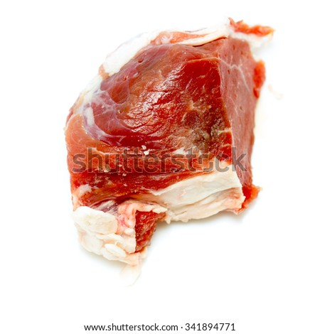 piece of fresh beef on a white background