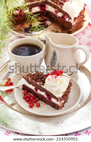 Piece of fresh homemade Black Forest cake with cherry and chocolate