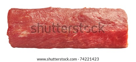 Piece of fresh raw meat isolated on white background - stock photo